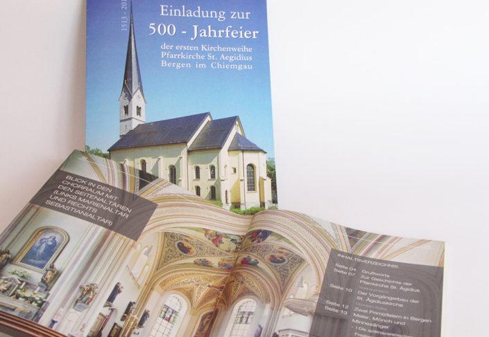 Pfarrei Bergen Flyer Einladung 500-Jahr-Feier